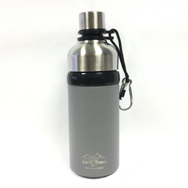 Long Paws Wasserflasche Hundetrinkflasche Pulverbeschichtet mit Kugelöffnung Grau 500 mL