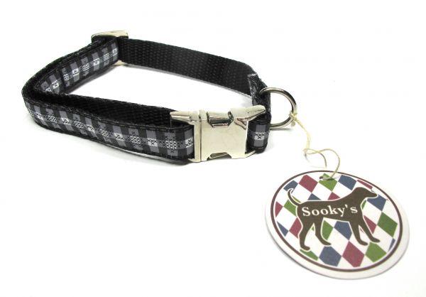 Sooky's Gurthalsband Black & White Größe M (28-40 cm)