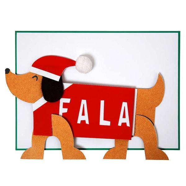 Meri Meri Weihnachtskarte Dackel Falalalalaa!