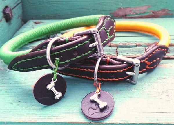 Rundlederhalsband mit Schnalle S (bis 39 cm) nach Wunsch