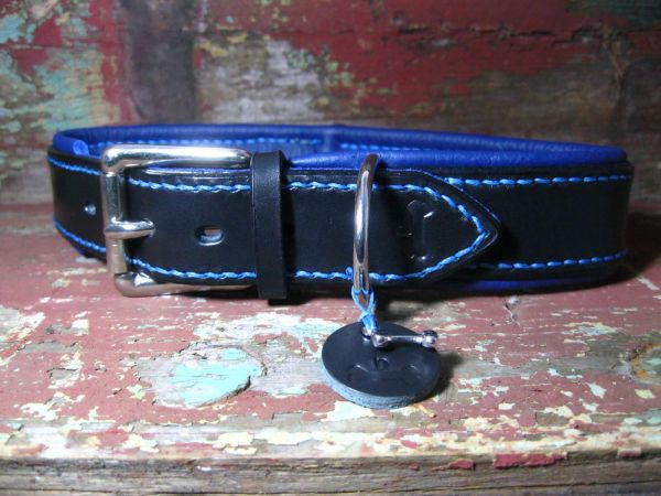Sattellederhalsband Flach S (bis 30 cm) mit Nappaleder Polster