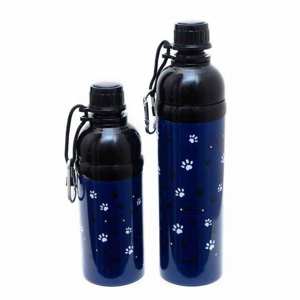 Long Paws Wasserflasche Hundetrinkflasche mit Kugelöffnung Dunkelblau Pfote