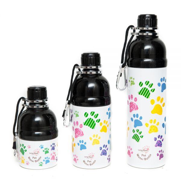 Long Paws Wasserflasche Hundetrinkflasche mit Kugelöffnung Motiv Paws Bunt