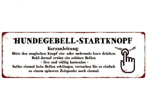 Shabby Vintage Dekoschild in Metall Hundegebell-Startknopf