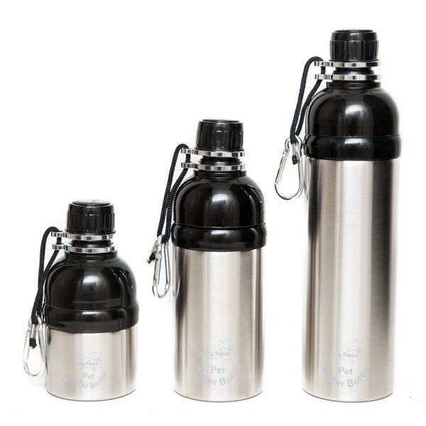 Long Paws Wasserflasche Hundetrinkflasche mit Kugelöffnung Silber